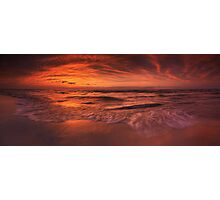 Colorful dramatic sunset over lake Huron panorama art photo print Photographic Print