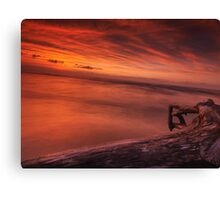 Dark red dramatic sunset scenery over lake Huron art photo print Canvas Print