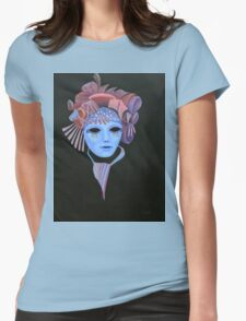 Mask with Mauve Headdress Womens Fitted T-Shirt