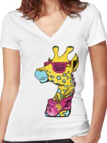 Funky CMYK Giraffe Women's Fitted V-Neck T-Shirt
