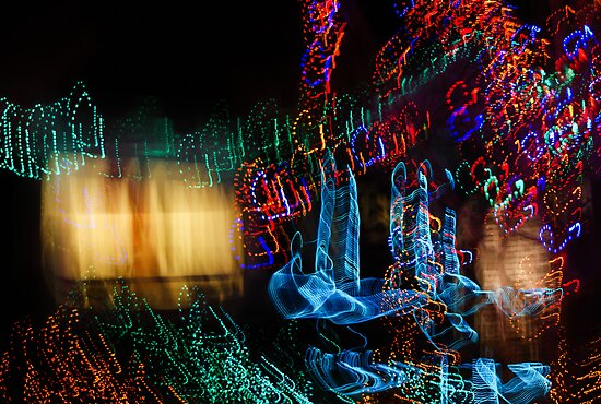 Abstract Christmas Lights - Color Twists and Swirls  by Georgia Mizuleva