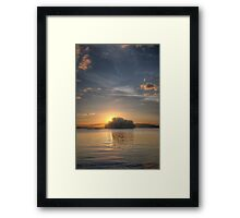 Sundown and island Framed Print