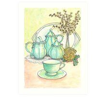 Green Tea Set Art Print