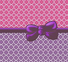 Ribbon and Bow - Quatrefoil Shape Purple White Pink by sitnica
