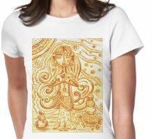 Orange Yoga Gypsy Sketch – Whimsical Folk Art Girl in Namaste Pose Womens Fitted T-Shirt