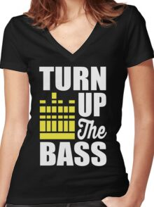 Turn up the bass!  Women's Fitted V-Neck T-Shirt