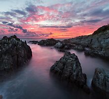 Woolacombe Bay Fire Sky - North Devon by Gareth Spiller