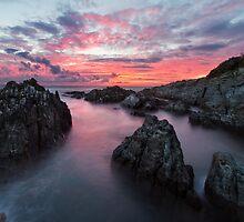 Woolacombe Bay Fire Sky - North Devon by Gareth Spiller
