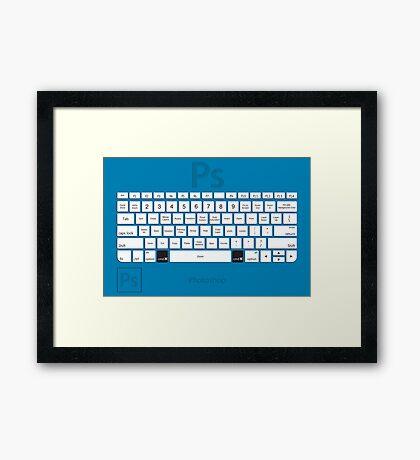 Photoshop Keyboard Shortcuts Blue Cmd Framed Print