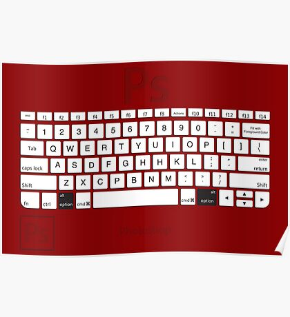 Photoshop Keyboard Shortcuts Red Opt Poster