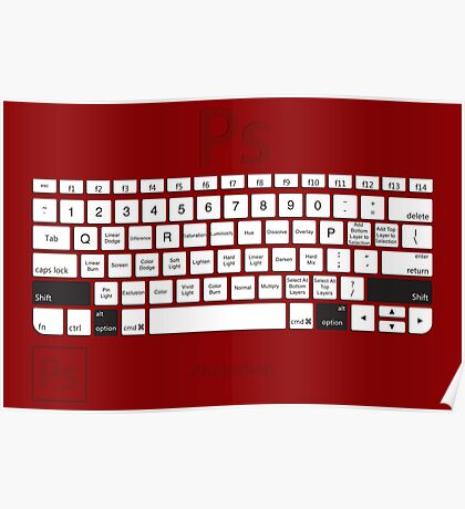 Photoshop Keyboard Shortcuts Red Opt+Shift Poster