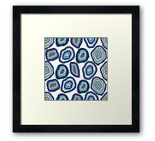 Blue agate crystal gemstones Framed Print