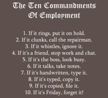 The Ten Commandments Of Employment (White) Baby Tee