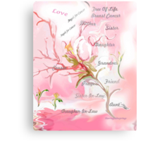 TREE OF LIFE..dedicated to breast and other cancer research Canvas Print