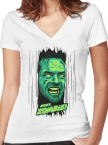 Here's Zombie! Women's Fitted V-Neck T-Shirt