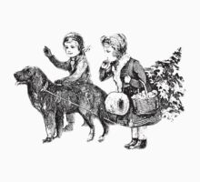 Victorian Children Bringing Home A Christmas Tree For An Old Fashioned Christmas Kids Tee