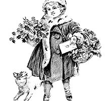 Victorian Child At Christmas Time. Christmas Presents For Christmas Past by digitaleclectic