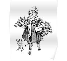 Victorian Child At Christmas Time. Christmas Presents For Christmas Past Poster