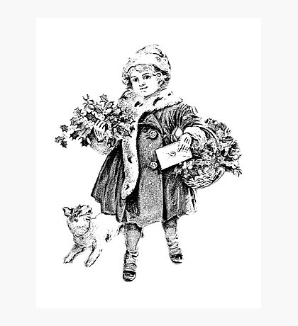 Victorian Child At Christmas Time. Christmas Presents For Christmas Past Photographic Print