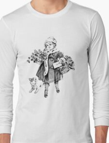 Victorian Child At Christmas Time. Christmas Presents For Christmas Past Long Sleeve T-Shirt