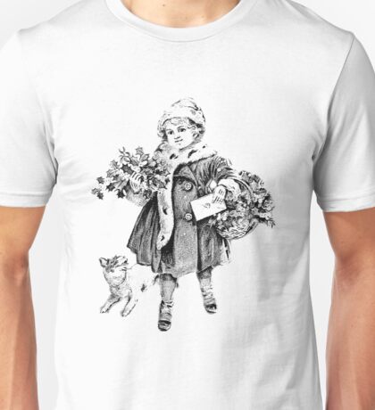 Victorian Child At Christmas Time. Christmas Presents For Christmas Past Unisex T-Shirt
