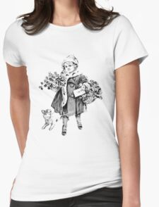 Victorian Child At Christmas Time. Christmas Presents For Christmas Past Womens Fitted T-Shirt