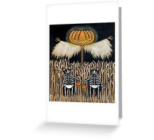 The Scarecrow & Skellie Cats Greeting Card