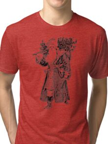 Victorian Santa Brings Christmas Presents and Christmas Trees in Christmas Long Ago. Tri-blend T-Shirt