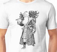 Victorian Santa Brings Christmas Presents and Christmas Trees in Christmas Long Ago. Unisex T-Shirt