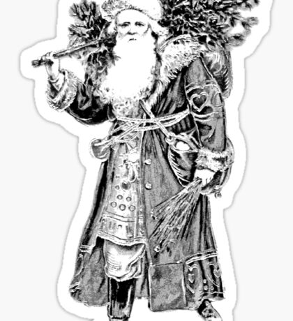 Victorian Santa Brings Christmas Presents and Christmas Trees in Christmas Long Ago. Sticker