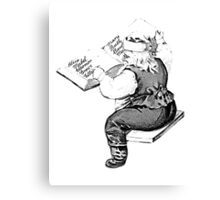 Santa is Making A List And Checking It Twice. Vintage Santa Claus For Old Fashioned Christmas. Canvas Print