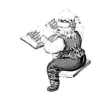 Santa is Making A List And Checking It Twice. Vintage Santa Claus For Old Fashioned Christmas. Photographic Print