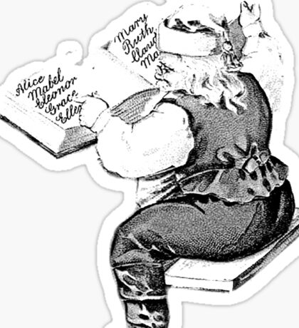 Santa is Making A List And Checking It Twice. Vintage Santa Claus For Old Fashioned Christmas. Sticker