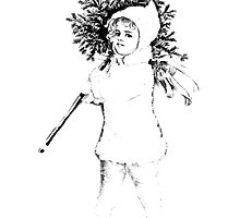 Victorian Child At Christmas Time, Carrying In The Christmas Tree. by digitaleclectic