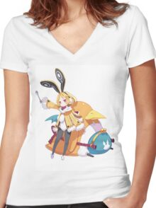 disgaea usalia and fat prinnie Women's Fitted V-Neck T-Shirt