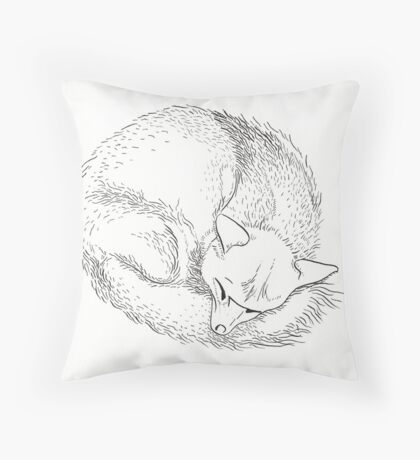 Fox Sleeping Throw Pillow