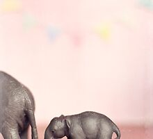 Pink Elephant and her Bub by kpedwell