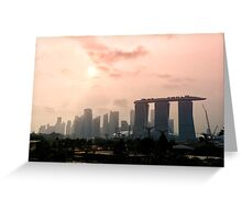 Approaching sunset over Marina Bay Sands - Singapore Greeting Card