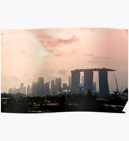 Approaching sunset over Marina Bay Sands - Singapore Poster