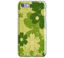 Vintage Green Flower with Wood Grain iPhone Case/Skin