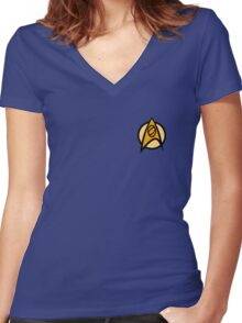 Star Trek TOS, Science Combadge Women's Fitted V-Neck T-Shirt