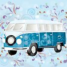 Retro van with colorful swirls by schtroumpf2510
