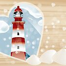 Lighthouse in heart on wooden board by schtroumpf2510