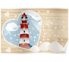 Lighthouse in heart on wooden board Poster