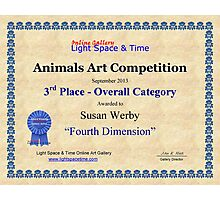 "3rd Place Overall Category-Animals Competition-""Fourth Dimension"" Photographic Print"