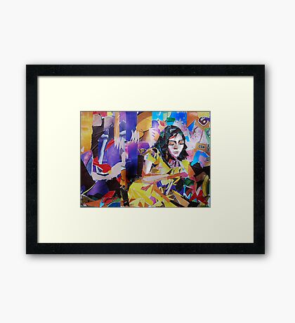 Paper collage- Reclining Woman Framed Print