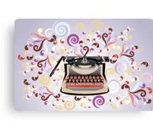 Creative typewriter in retro style with colorful swirls Canvas Print
