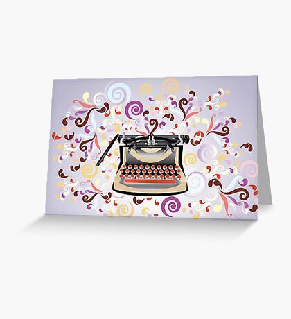 Creative typewriter in retro style with colorful swirls Greeting Card