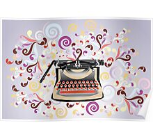 Creative typewriter in retro style with colorful swirls Poster