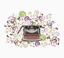 Creative typewriter in retro style with colorful swirls Kids Clothes